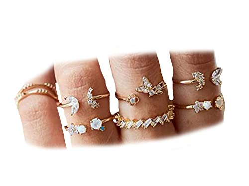 BERYUAN 7Pcs Women Dainty Gold Ring Set Rhinestone Butterfly White Gem Stone Knuckle Ring Set Gift For Her Cute Ring Set Women And Girls Teens Jewelry Rings Size 6 7