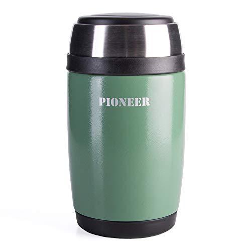 Pioneer Flasque boîte isotherme avec culière à double paroi pour Soupe et/ou Nourriture en acier inoxydable 18/10 – 0,58L, métallique vert, 8 heures chaud/ froid, antifuite