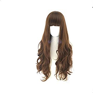 Wig air bangs lady long curly hair fluffy realistic fashion sweet cute face wig