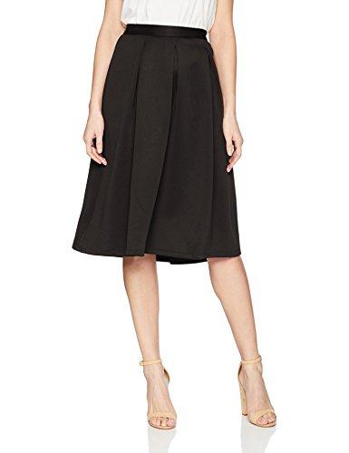 Chelsea & Theodore Women's Inverted Pleat Scuba Skirt, Black/Black, 8