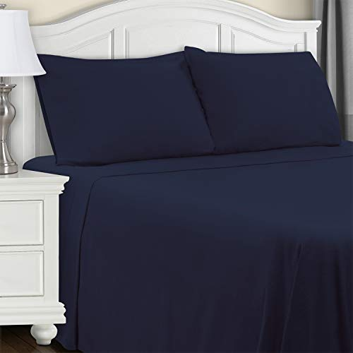 Extra Soft Fitted Sheet, Navy Blue Solid, King
