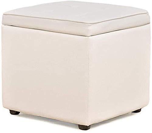 FWZJ Cambiar Banco de Zapatos Cuadrado Acolchado Caja de Almacenamiento de Moda Creativa Pasillo Taburete de Cliente Taburete de sofá Banco de Madera Asiento (Color: Blanco)