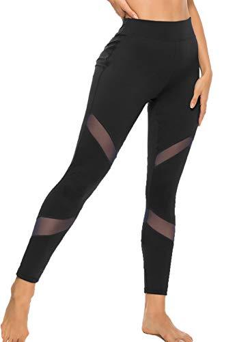 FITTOO Mallas Leggings Mujer Yoga de Alta Cintura Elásticos y Transpirables para Yoga Running Fitness A-Negro Small