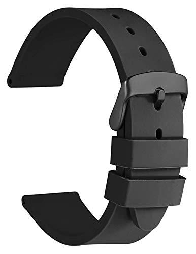 WYYHYPY Correas de reloj de silicona con hebilla negra de acero inoxidable, bandas de reemplazo de caucho suave 18 mm 20 mm 22 mm 24 mm correa de reloj (Color : Black, Size : 22mm)