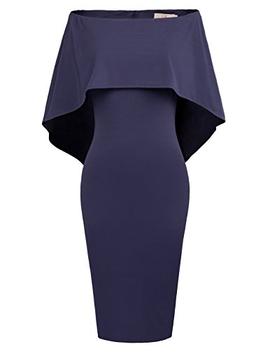 GRACE KARIN Women Sexy Strapless Ruffle High Waisted Cape Dress Size M Navy Blue