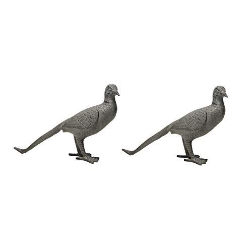 2er Set Dekoration Skulptur Deko Objekt aus Metall für Hochzeit oder im Garten | Taube Fasan von Varia Living | Dekofigur Teich Terrasse | frostsicher | Gartenfigur für außen | Vogelfigur