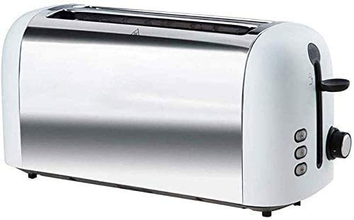 ZKAIAI Silencioso Electrodomésticos de acero inoxidable Tostadora, al horno 4 rebanadas Tostadora Tiene ranura Alargado Pan Pan máquina tiene una pausa de calefacción Función descongelación Bandeja fo