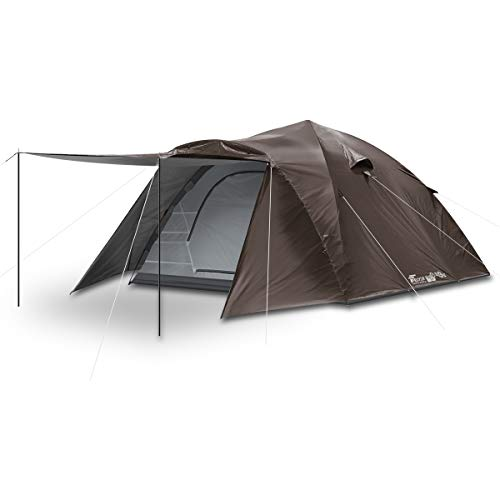 FIELDOORワンタッチテント300【ダークブラウン】大型4~6人用ドームテントキャンプテント紐を引くだけの簡単設営UVカット耐水シルバーコーティングキャノピー簡単