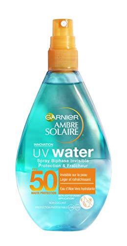 Garnier Ambre Solaire - UV Water - Spray Biphase Invisible Protection & Fraîcheur FPS 50 - 150 ml - Lot de 3