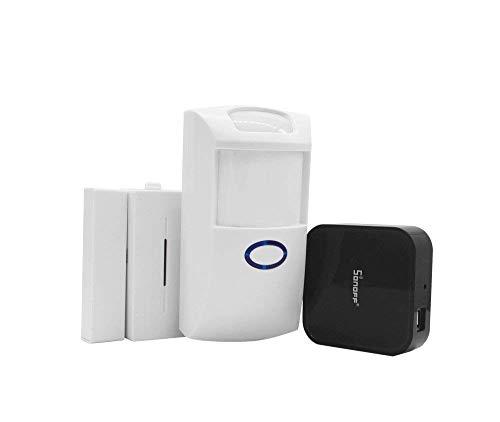 Aihasd Sonoff RF Bridge WiFi 433Mhz + PIR2 PIR Sensor infrarrojo Humano + DW1 Sensor de Alarma de Puerta y Ventana para Smart Home Control Remoto por iOS Android (Funciona con Amazon Alexa)