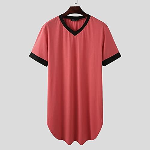 KASLXA Batas de Dormir para Hombre, camisón de Manga Corta con Cuello en V, Ropa de casa, cómoda Bata de baño Suelta de Retazos para Hombre, Bata S-5XL-Red-5-XXL