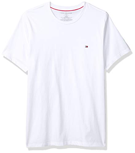 Tommy Hilfiger Men's Flag Crew Neck Tee, White, Large