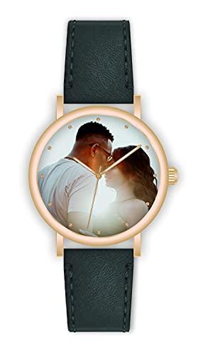 Memories - Reloj de pulsera personalizado con su foto Fashion, diámetro de 40 mm, reloj de oro rosa para amigos y familia, fabricado en Alemania