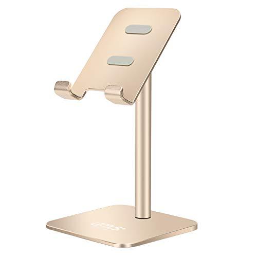 Soporte ajustable para teléfono celular, soporte de teléfono móvil, soporte para escritorio, compatible con todos los teléfonos móviles (dorado)