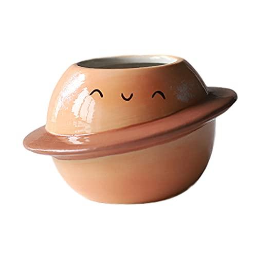 Gazechimp Maceta suculenta Decorativa de Maceta de Planeta de Ilustraciones de cerámica para decoración del hogar - Naranja