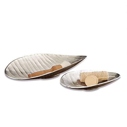 Loberon Tablett 2er Set Ribes, Aluminiumguss, Groß: B/H/T 38cm/6.5cm/24.5cm, Klein: B/H/T 30.5cm/6cm/20cm, antiksilber