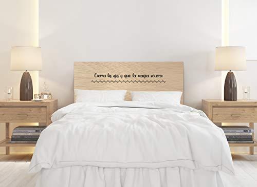 Deco&Fun - Cabecero Cama Madera Impreso Personalizable Natural Text 150x60cm para Cama de 135 y 150 - Medidas 100, 115, 150, 200 -Cabecero Original