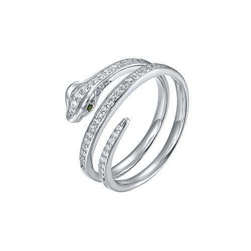 Anillo de serpiente de diamantes de lujo de plata de ley 925 para mujer Anillos exquisitos para mujer 7 R2