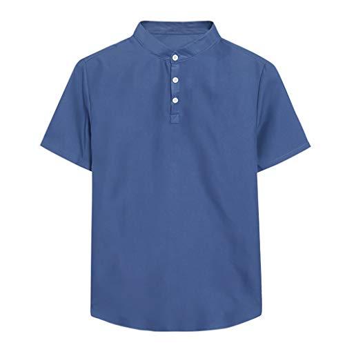 Realde Herren T-Shirt Sommer Kurzarm O-Ausschnitt Einfarbig Slim Fit Top Beiläufige Hemdkragen Freizeithemd Bluse Männer Bequem Atmungsaktiv Leicht Oberteil Größe S-3XL