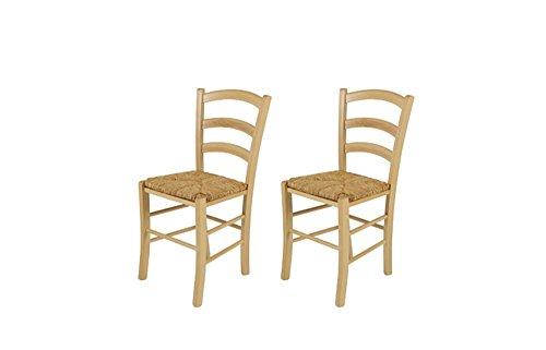 lifestyle4living 2 Esszimmerstühle aus massiver Buche mit Einer Sitzfläche aus Binsengeflecht, Maße: B/H/T ca. 43/85/47 cm