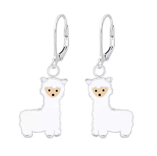 Sterling Silver Alpaca Llama Lever Back Earrings