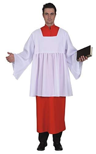 O7181-50-52 rot-weiß Herren Messdiener Gewand Kostüm Gr.50-52