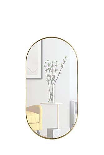 DIREKTE IMPORT Espejo ovalado con marco de metal dorado, 100 x 50 x 5 cm (alto x ancho x profundidad), espejo dorado para cuarto de baño, vestidor o salón, diseñado en Dinamarca