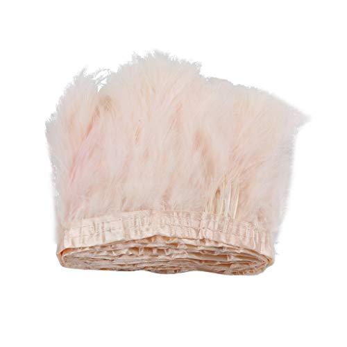 Homyl 2m Rubans Gland Garniture de Dentelle Plume Tissu Frange de Couture Bricolage - rose poussiéreux
