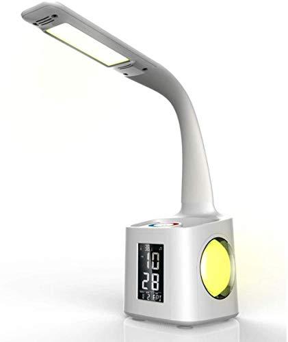 Lámpara de Escritorio LED Multifuncional USB Recargable con portalápices Calendario perpetuo y Reloj Luz Ambiental Colorida Control táctil Luz de Lectura Que cuida los Ojos Fantastic