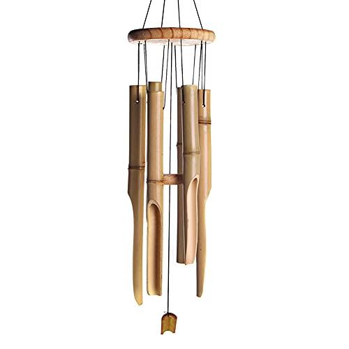 Campanas de viento retro de bambú para colgar en la pared, tubos de campanas, manualidades, decoración creativa, decoración de fachadas para el hogar