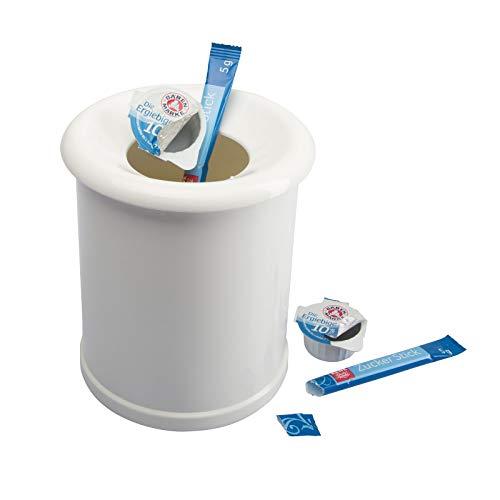 Westmark Tischabfall-/Kosmetikeimer, Füllvolumen: 1 Liter, Porzellan-Optik, Abnehmbarer Deckel, Kunststoff, Weiß, 21202270