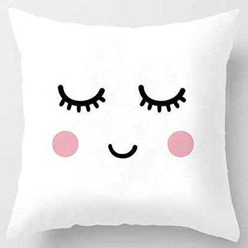 CXDDD Cartoon Pillowcase Nordic Girl Smile Sleep Sweet Eyelashes Cute Pillowcase Room Decoration 45×45CM with pillow core