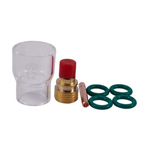 MLXG - Juego de 7 tazas de cristal Pyrex Tig con lente de gas del cuerpo de pinzas trenzadas para soldar accesorios Wp-9/20/25