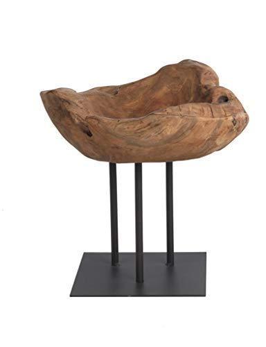 WMG | INSULA Deko Schale auf Fuß Holzschale | 35 cm | Dekoration für Wohnbereich, Büro, Geschäftsräume, Tagungsräume usw. | Teak-Holz recycelt Metall | Braun Schwarz