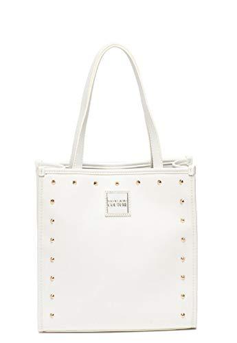 Versace Umhängetasche, quadratisch, mittelgroß, mit abnehmbarem Schulterriemen, Jeans-Couture für Damen, Farbe weiß-rosa-schwarz mit Nieten, Weiß - Bianco - Größe: 25 x 26,5 x 11,5 cm