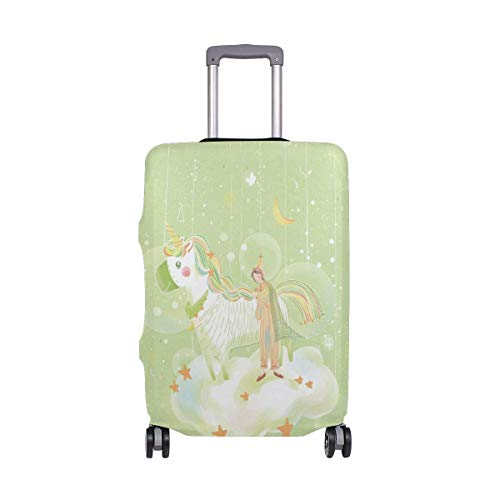 Travel Lage Cover Small Fresh Blue Unicorn Little Girl Bubble Suitcase Protector Fits 26-28 Inch Washable Baggage Covers