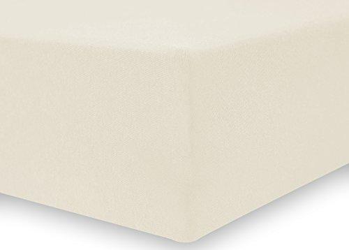 DecoKing 18521 80×200-90×200 cm Spannbettlaken Creme 100% Baumwolle Jersey Boxspringbett Spannbetttuch Bettlaken Betttuch Cream Nephrite Collection - 4
