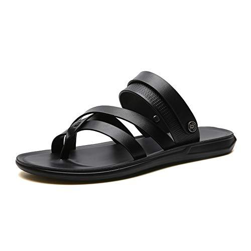 Sandalias de cuero Zapatillas Sandalias para hombre Anillo Toe Strap Zapatillas Casuales Zapatos planos Cuero retro Cuero antideslizante Confort Sandalias de playa ( Color : Black , Size : 44 EU )