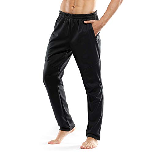 INBIKE Winter Bike Cycling Pants Windproof Thermal Joggers Active Running Snow Sweatpants Men Black XX-Large