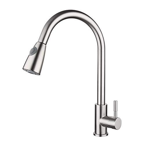 Ziehbarer Edelstahl 304 Küche Spültisch Küchenarmatur Wasserhahn Mischbatterien Einhebel Amatur Silber + 3/8 Anschlussschläuche