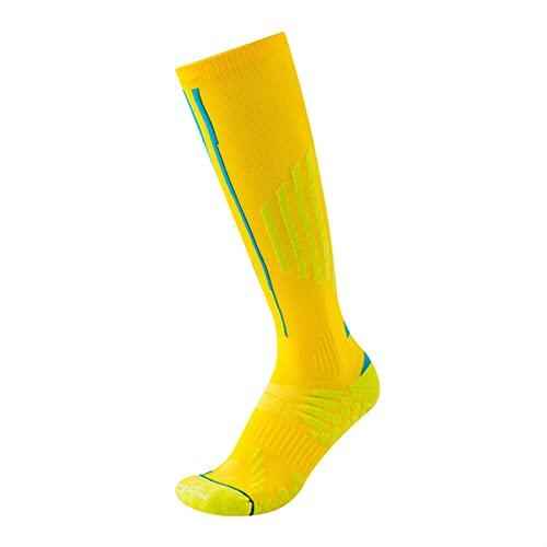 ACEACE Algodón compresión Hombres Deporte Calcetines Transpirable Antideslizante Largo Alto calcetín Medias Corriendo maratón Golf Calcetines atléticos Blanco (Color : Yellow, Size : 39-44)