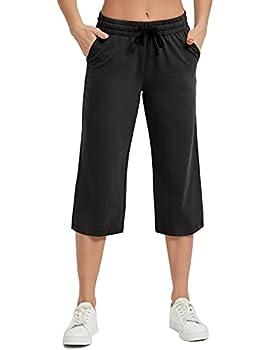 SPECIALMAGIC Women s Yoga Capris Lounge Pants Indoor Sweatpants Straight Wide Leg Crop Jersey Pants Black L