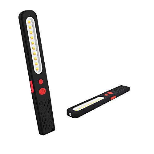 AuRiver Linterna de Trabajo COB LED, Luz de Trabajo portátil con Modo de Doble Color Recargable 2 en 1 de lámpara Dual súper Brillante con 2 Paneles magnéticos en la Espalda para Camping,Taller