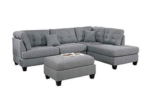 Bobkona Sectional Sofa Set Grey