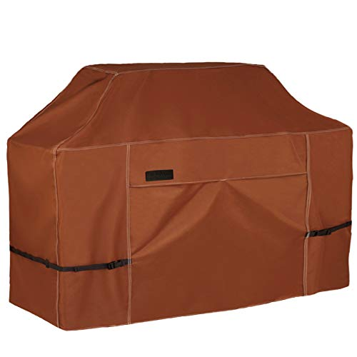 NettyPro Outdoor BBQ Grill Cover 56 Inch 3-4 Burner Waterproof Heavy Duty Patio Barbecue Gas Grill Cover, Fits Weber Char-Broil Nexgrill Brinkmann Grills and More, Brown