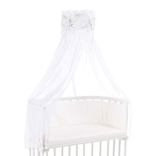 Ciel de lit babybay en coton bio avec nœud adapté aux modèles Original, Maxi, Boxspring, Comfort, Comfort Plus et Midi, blanc avec étoiles pailleté bleu diamant