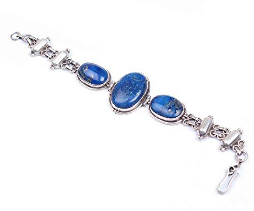 Pulsera Lapislázuli de plata | Pulsera ajustable de cadena y eslabón | Hermosa piedra preciosa oval Lapislázuli | Pulsera de Cabochan Lapislázuli | Tamaño 7.5 pulgadas