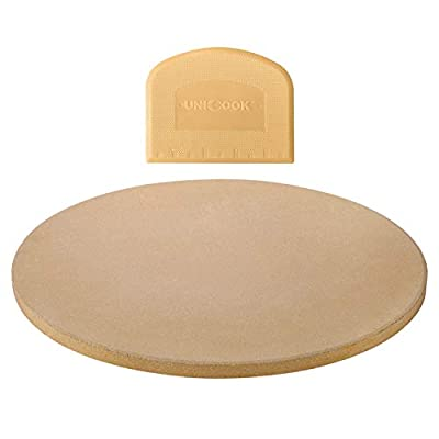Unicook 12 Inch Round Pizza Stone, Heavy Duty Ceramic Pizza Grilling Stone, Baking Stone for RV Oven, Grill and Toaster Oven, Ideal for Baking Crisp Crust Pizza, Bread, Cookies and More