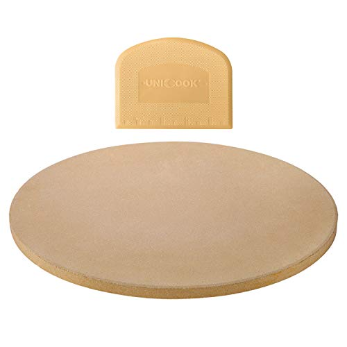 Unicook 14 Inch Round Pizza Baking Stone, Heavy Duty Ceramic Pizza Grilling Stone for Oven and Grill, Thermal Shock Resistant, Ideal for Baking Crisp Crust Pizza, Bread and More, Includes Scraper