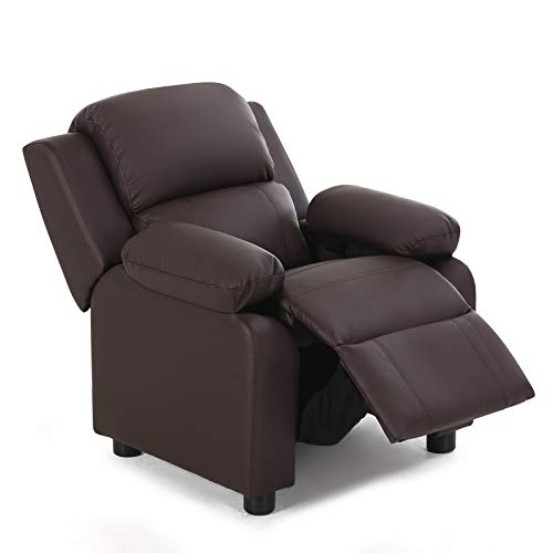 HONEY JOY Kids Recliner Chair, Children Wingback Single Sofa with Storage Armrest, PU Leather Ergonomic Lounger Furniture with Raised Footrest, Padded Reclining Seating Chair for Toddler 3+ (Coffee)